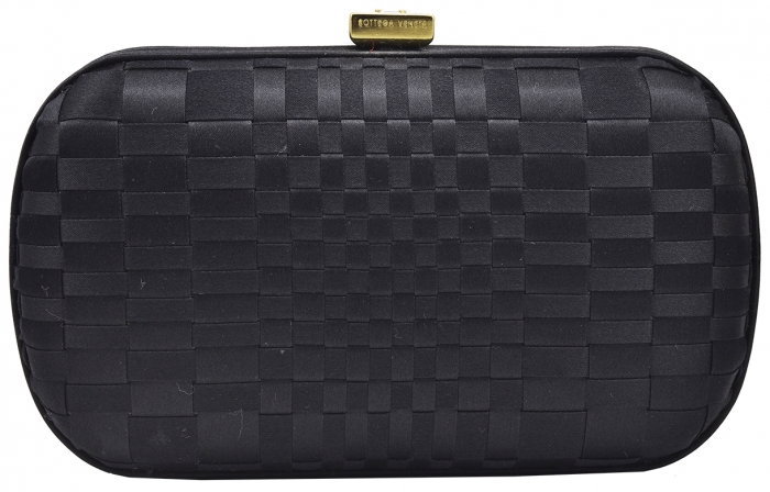 Chic Classic Bottega Veneta Black Satin Knot Clutch