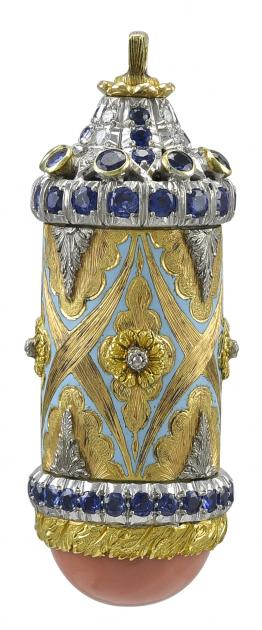 Amazing Gold and Platinum Coral Enamel Sapphire and Diamond Cylindrical Pendant