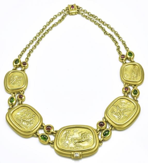 Classic Gold Gem Set Seidengang Necklace
