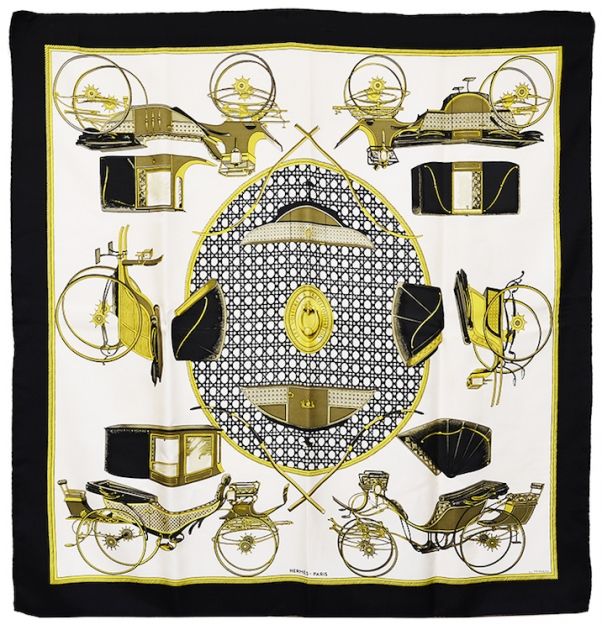 Beautiful Hermes Transportation Silk Scarf
