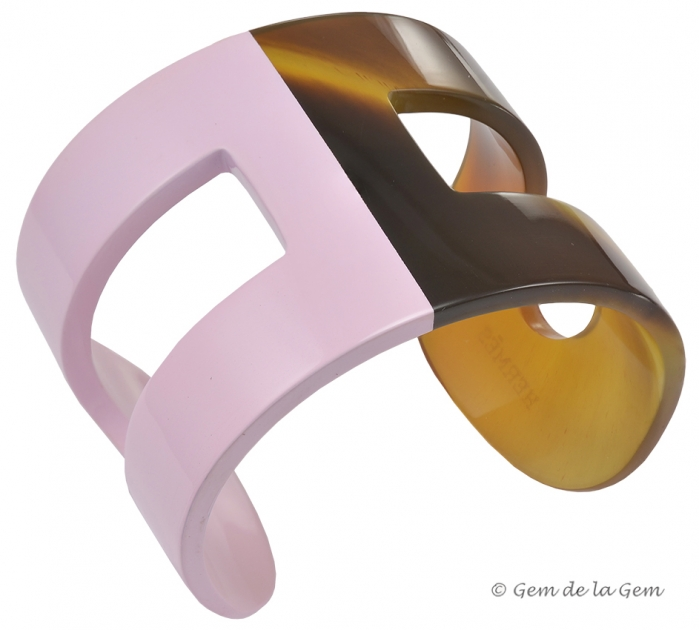 Hermes Light Pink Lacquer and Horn H Cuff