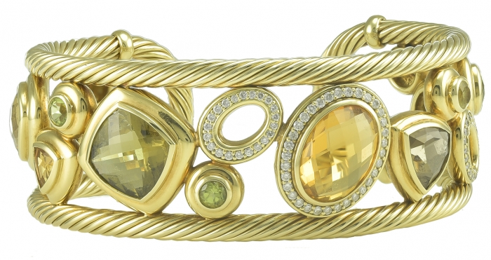 Gorgeous David Yurman Citrine Diamond Gold Mosaic Bracelet Cuff