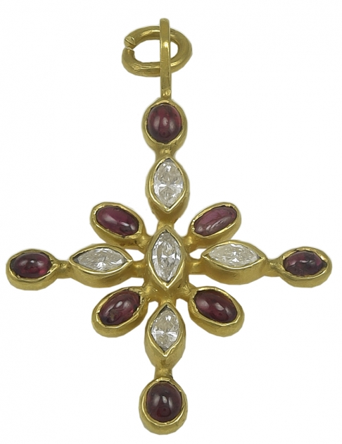 Stunning Virginia Witbeck Ruby Diamond Gold Cross Pendant