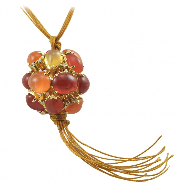 Wonderful Virginia Witbeck Fire Opal Diamond Ball Pendant