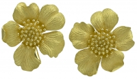 Tiffany & Co. Classic Huge Gold Wild Rose Ear Clips