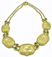 Classic Gold Gem Set Seidengang Necklace