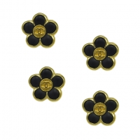 Rare Set of Four Small Chanel Enamel Floral Buttons