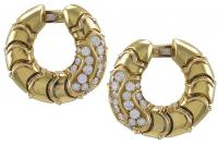 Marina B Classic Gold and Diamond Hoop Ear Clips