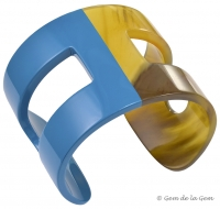Hermes Teal Lacquer and Horn H Cuff