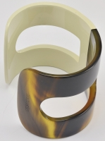 Hermes Cream Lacquer and Horn H Cuff