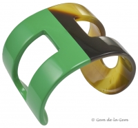 Hermes Green Lacquer and Horn H Cuff
