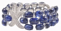 Amazing Cabochon Natural Sapphire Diamond Gold Bracelet