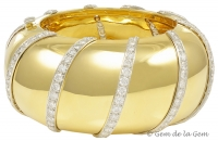 Majestic and Tres Chic Wide Diamond Gold Bangle