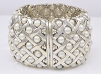 Fabulous Wide Pearl Diamond Cuff Bracelet