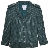 Sensational Chanel Green and Silver Boucle Jacket