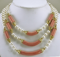 Sensational Van Cleef & Arpels Coral Pearl Diamond Gold Necklace