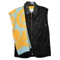 Fabulous MCM Microfiber, Leather and Silk Vest with Matching Scarf