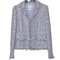 Iconic Chanel Boucle Suit with Matching Shawl.