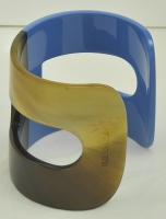 Gorgeous Hermes Blue Lacquer and Horn Cuff