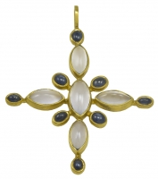 Beautiful Virginia Witbeck Chalcedony Sapphire Gold Cross Pendant