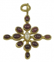 Lovely Virginia Witbeck Ruby Diamond Gold Cross Pendant