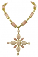 Rare Virginia Witbeck Natural Coral Gold Cross Pendant Necklace