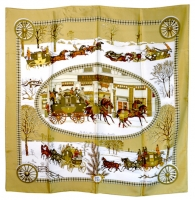 Gorgeous Hermes Winter Motif Silk Scarf