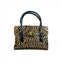 Lambertson Truex Zebra Print Fur and Leather Handbag