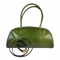 LANA MARKS Fabulous Olive Green Genuine Alligator Handbag